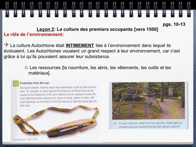 Leçon 2: La culture des premiers occupants [vers 1500]